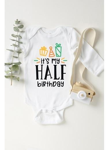 Happy Onesie Co Half Birthday Hediyeli Uzun Kol Çıtçıtlı Body Beyaz